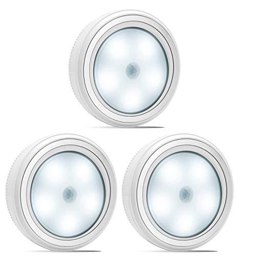 Nakhal Nachtlicht mit Bewegungsmelder (3 Stück, 5 LEDs), Auto Ein/Aus Nachtlicht Magnetisch und 3m klebend, LED Bewegungsmelder Licht, Batterie-Betrieb (nicht enthalten) Schrankleuchten, Schran (Weiß) -