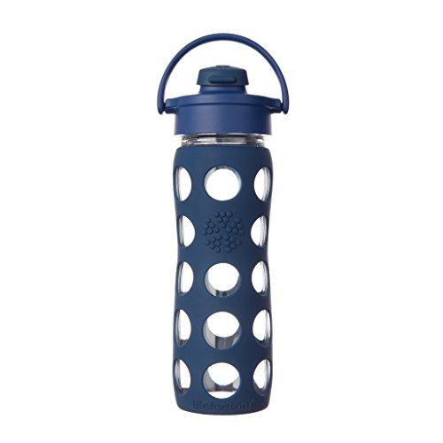 Glas-trinkflasche Blau (Lifefactory Glas-trinkflasche mit Flip Top Deckel, Midnight Blue, 14915)
