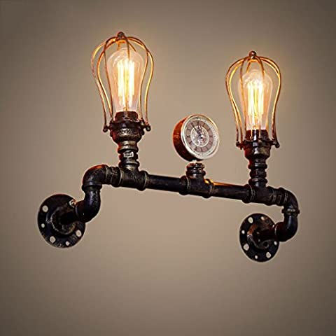 Vintage Industrial Pipe Wall Lights Black Creative Lights Restaurant Cafe Bar Decoration Lighting With 2 Head Wall