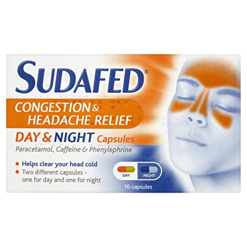 Sudafed Congestion Headache Relief Day and Night Capsules, 16-Count