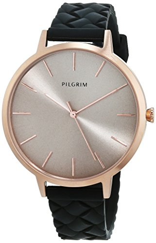 Pilgrim Damen Armbanduhr, Analog, Quartz, roségold + schwarz Silikon Aster 701744130