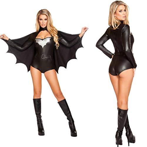 Z&X Halloween Batman Kostüm Damen Nachtclub Halloween Kostüm Batman Sexy Ladies Party Gown Erwachsenen Kostüm Superman Krieger Kostüm Cosply Kostüm Schwarz Inklusive Fledermaus Mantel