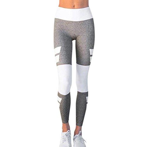 Sport Leggings Damen,Dasongff Yoga Hosen Sport Leggings Frauen Laufhose Streche Fitness Yoga Pants Trainingshose Jogginghose Pacthwork (Grau, M) (Damen Lauf-hose)