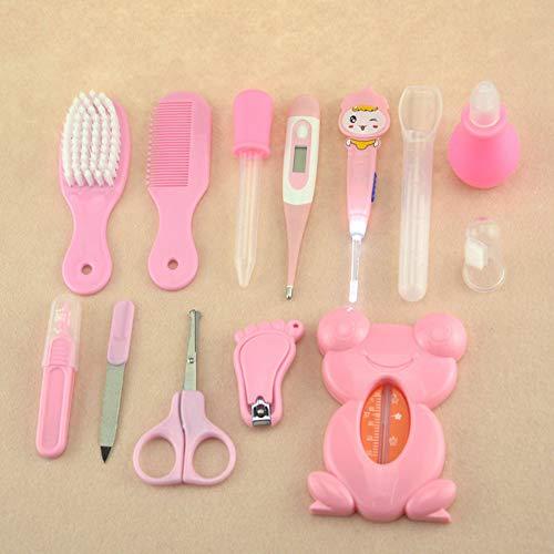 XIAWEIAINI Badezimmer Babyschönheitspflege Satz 13 Kindergarten Pflege des Neugeborenen Babysatz Nagelknipser Thermometer Bürste kämmen mit Babytasche,Rosa -