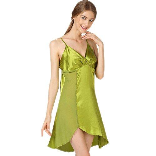 CHUNHUA chemise de nuit 100 % soie sangle supérieure ronde pyjama, vêtements de nuit et pyjamas de soie cou , green , xxl Green