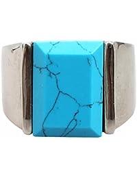 PAURO Hombre Acero Inoxidable Piedra Cuadrada Piedra Azul Piedra Arenisca y Anillo Turquesa con Lado Pulido de Plata
