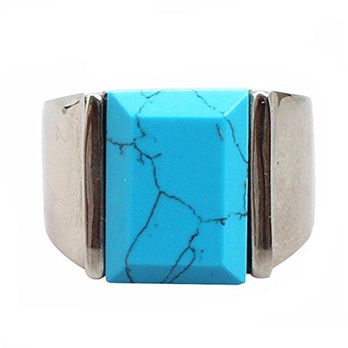 PAURO Herren Edelstahl Quadrat Edelstein Stein Türkis Ring Mit Poliertem Silber Seite Grün Gr. 60