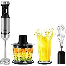 Aigostar Mix Helper 30JIM - SET di frullatore ad immersione da 600W, Velocità variabile e impostazione Turbo, Mixer 3 in 1 per Frutta Verdura, Frullati, Zuppe, Insalate. BPA FREE. Lame in accaio inox