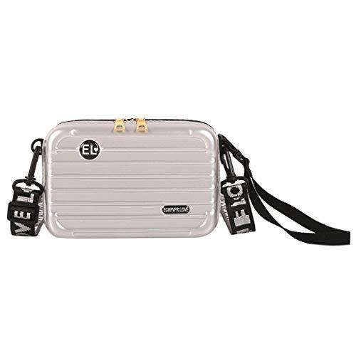Linkay Neuer HeißEr Verkauf Mode Wild Damen Gepäckbox-Form Tasche Mini-Handytasche Handtasche UmhäNgetasche Rucksack-Silber