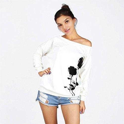Frauen-Damen Anker weg von der Schulter Maxi-Slouchy Sweatshirt Pullover Tops Blusen Rose