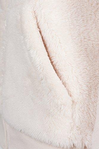 Urban Classics Damen Kapuzenpullover Ladies Teddy Zip Hoody Beige (Sand 208)