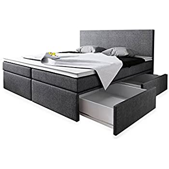 boxspringbett 180x200 mit bettkasten grau stoff hotelbett polsterbett matratze modell roma 180. Black Bedroom Furniture Sets. Home Design Ideas