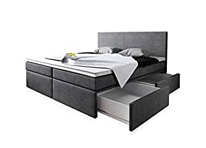wohnen luxus boxspringbett 160x200 mit bettkasten grau stoff hotelbett polsterbett matratze. Black Bedroom Furniture Sets. Home Design Ideas