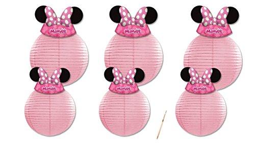 Irpot - addobbi minnie 6 lanterne decorative in carta rosa lap20/25 + 6 cappellini 87872