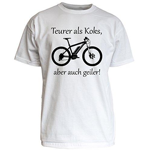 "Nukular T-Shirt \""Teurer als Koks, aber auch geiler!\"", MTB-Pedelec, Farbe weiss, Größe M"