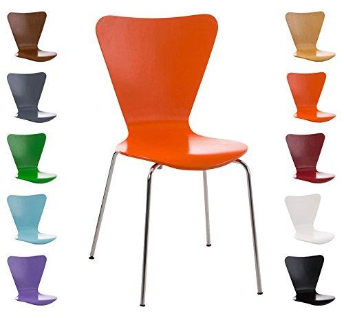 CLP Sedia impilabile CALISTO, seduta ergonomica in legno, colori a scelta arancione