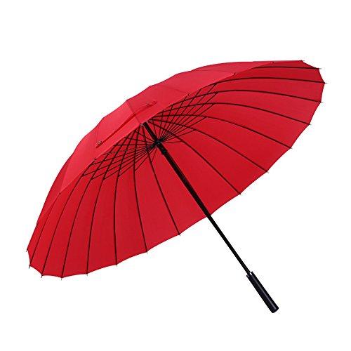 45 Zoll Gerader Golf-Regenschirm-Windundurchlässiger Regen-/Uvschutz-Reise-Regenschirm mit Großem Überdachung - Stark und Beweglich, 24 Rippen,Red