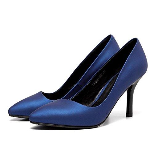 WSS chaussures à talon haut Chaussures en cuir à talons hauts Royal Blue Suede cuir au vent de l'Europe a souligné stiletto haut talon Blue
