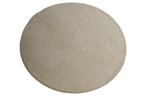 Luxus Hochflor Teppich Prestige rund - Farbauswahl: Weiß, Beige, Braun, Silber   schadstoffgeprüft pflegeleicht strapazierfähig schmutzabweisend   edel dekorativ für Wohnzimmer Schlafzimmer Büro, Farbe:Beige, Größe:150 cm rund