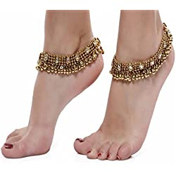 Shining Diva Gold Plated Anklets for Women (Gold)(5634a)