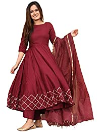 Style Amaze Women's Maroon Color Cotton Silk Embroidered Salwar Suit with Dupatta