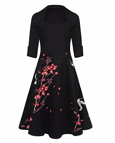 GIKING Women's 1950s Retro Dress Vintage Floral A-Line Swing Dresses
