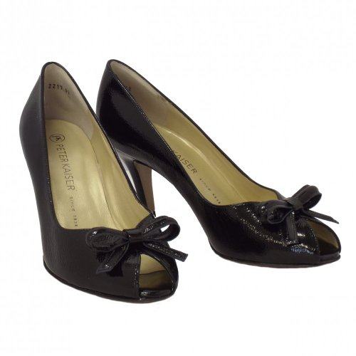 Peter Kaiser Suomi Ladies Peep Toe Scarpe In Nero Crackle Crackl BLK