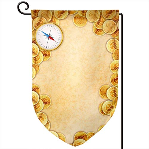Pirate Gold Coins On Old Ancient Textured Empty Home Sweet Home Garden Flag Vertical Double Sided Spring Summer Yard Outdoor Decorative 12.5 X 18 Inch Halloween-coin-set