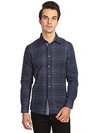 Reevolution Men's Self Design Blue Cotton Shirt (MCFS310335)