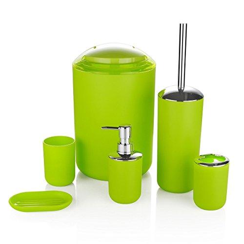 keraiz® 6Stück Kunststoff Badezimmer Zubehör Set Luxus Bad Zubehör Bad Set Lotion Flaschen, Zahnbürstenhalter, Zahnputzbecher, Seifenschale, WC-Bürste, Trash kann, Abfalleimer grün