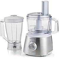 Ariete 1779 Robomix Metal - Robot da cucina multifunzione, Capacità tazza 2,1L, Set accessori per tritare, affettare, montare, impastare, emulsionare, Blender 1,75L, Bianco/Argento