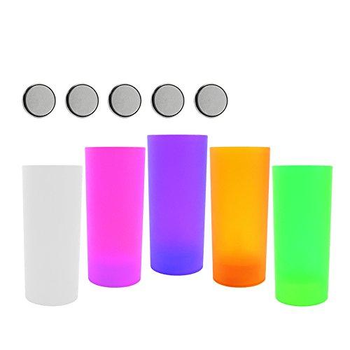 COM-FOUR 5x LED Windlicht Teelicht Partylicht in 5 verscheidenen Farben, batteriebetrieben, extra 5 Batterien