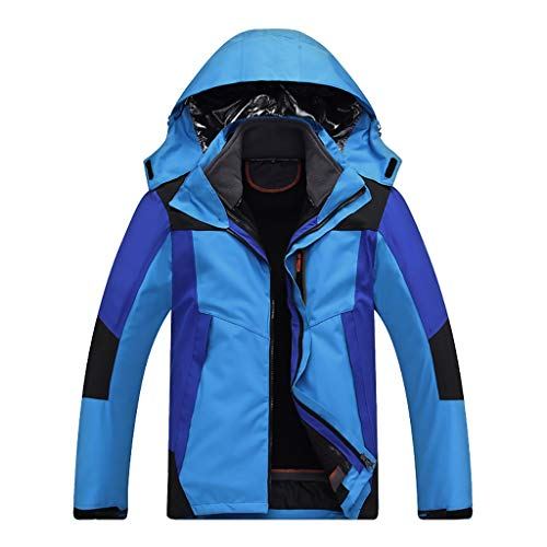 MOTOCO Herren Softshelljacke Winddicht Wasserdicht Resolve Outdoor Mountain Hooded Liner Abnehmbarer Mantel Mit Reißverschlusstasche(M,Dunkelblau)