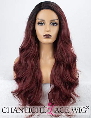 Chantiche 99j Synthetic Wig with Dark Roots Long Wavy Burgundy Wigs for Women 2 toned Wine Red wigs Heat Resistant Burgundy Heat