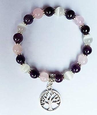 Bracelet lithothérapie, pierres de lune améthyste, quartz rose, douceur,amour, amitié, calme du foyer