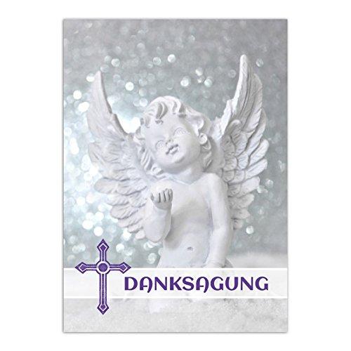15 x Danksagung Trauerkarten Engel mit 15 Umschlägen im Set - Danke nach Trauer, Beerdigung, Sterbefall, Friedhof, Begräbnis