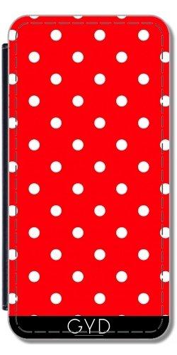DesignedByIndependentArtists Leder Flip Case Tasche Hülle für Apple iPhone 7 / iPhone 8 - Polkadots Rot by JAMFoto
