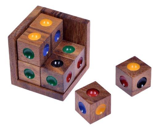Crazy Six - 3D Puzzle - Farbenpuzzle - Denkspiel - Knobelspiel - Geduldspiel - Logikspiel im Holzrahmen