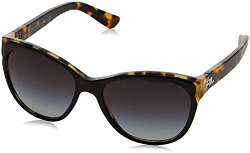 Ralph lauren 0rl8156318g, occhiali da sole donna, nero (top black/spotty havana/gradeintgrey), 57