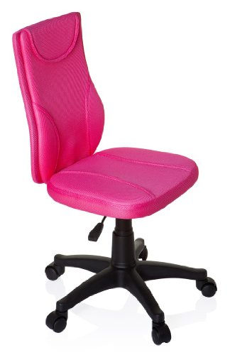 Great Buy for hjh OFFICE, 670410, Childrens Desk Chair, swivel chair, computer chair kids room, KIDDY BASE, Pink, mesh fabric, for children, ergonomic back, height adjustable, office task study chair,  home stool, armless, with soft-bottom rollers on Amazon