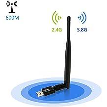Philonext Adaptador Wifi 600Mbps, AC600Mbps doble banda 2,4 G 150Mbps / 5G 433Mbps adaptador Wifi USB inalámbrico - para Windows XP/7/8/10, Mac OS X 10.6 - 10.12 (USB Wifi Dongle)
