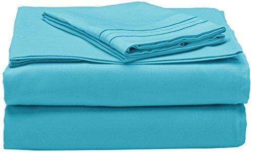 Eleganten Komfort 1500Fadenzahl Ägyptische Qualität Super Weich knitterfreies 3-teilig-Bettlaken-Set, Türkis, Twin/Twin XL (Türkis Blätter Twin Xl)