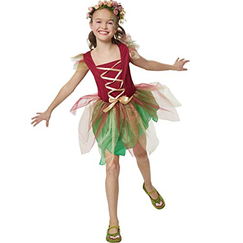 dressforfun 900346 - Mädchenkostüm Waldelfe, Kleid in hellem Grün und kräftigem Rot inkl. Schleife auf Hüfthöhe (140 | Nr. 301719)