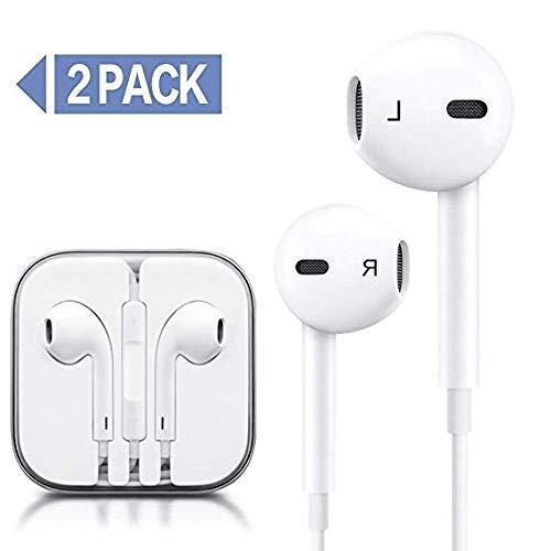 Humupii 2 Pack in-Ear Cuffie Auricolari con Telecomando e Microfono per iPhone6 6s 6 Plus 5 5s 5c 4s 4 iPad iPod Samsung Huawei Android e Altri Smartphone (15)