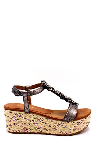 CAF Noir HA925 Anthrazit Band Keil Sandalen Frauen-Blumen-Bänder 40 (Collection Estates Grand)
