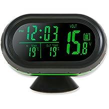 Reloj digital termometro voltímetro bateria alerta temperatura exterior interior