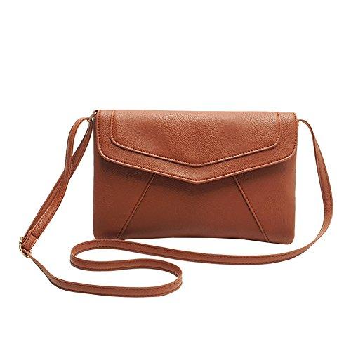 West See Fashion PU Leder Crossbody Schultasche Schulter Handtaschen für Damen (braun) -