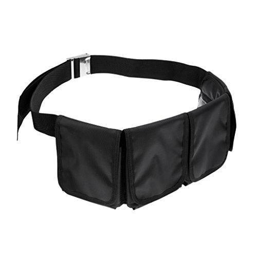MagiDeal Tauchgewichte Gürtel Bleigürtel Tauchgürtel mit Taschen, Schwarz mit Edelstahl Gürtelschnalle, verstellbar - 4 Taschen