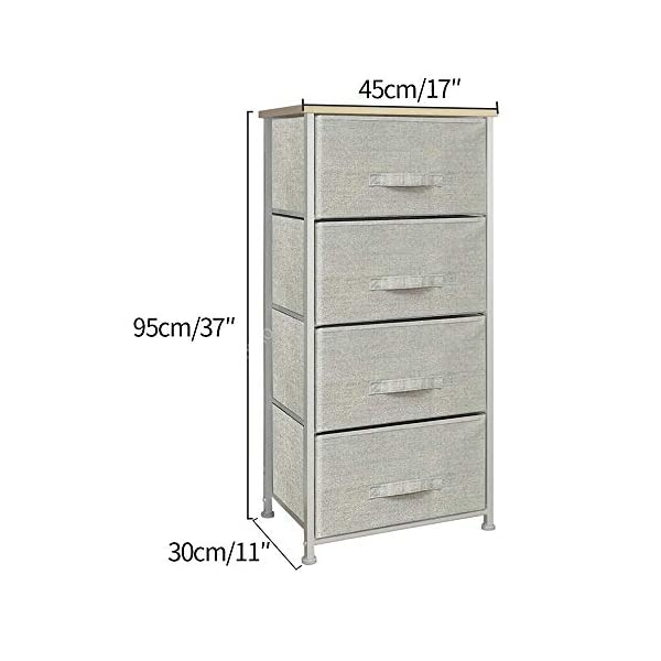 QIHANG-UK Grey Bedroom Dresser Tallboy Clothes Organizer Fabric Chest of 4 Drawers 45 * 30 * 94cm (002) QIHANG-UK Utility Storage Unit: this chest of drawers will help on improving the efficiency of space usage, make it easier for you to classify and storage stuff, it is suitable for both personal and family use Sturdy and Durable: solid metal frame and x-shaped bar behind ensure the stability, plastic caps on feet keep floor from scratches; upper 18mm wood board which is solid and simple to clean up; this storage unit is sturdy and durable Easy to assemble: with the aid of the included mounting accessories, the storage system with drawers can be built in 5-10 minutes 2