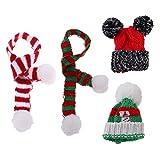 FLAMEER 4pcs/Set Handgefertigt Weihnachtsmütze Wintermütze und Herbstschal Winter Outfit Zubehör...